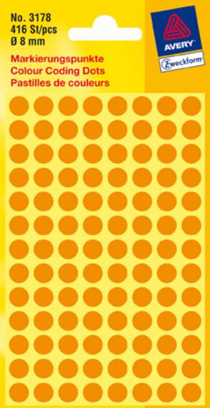 AVERY Zweckform 3178 Markierungspunkte, Ø 8 mm, 4 Bogen/416 Etiketten, leuchtorange 3178