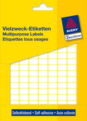AVERY Zweckform 3306 Vielzweck Etiketten, 13 x 8 mm, 29 Bogen/3.712 Etiketten, weiss 3306