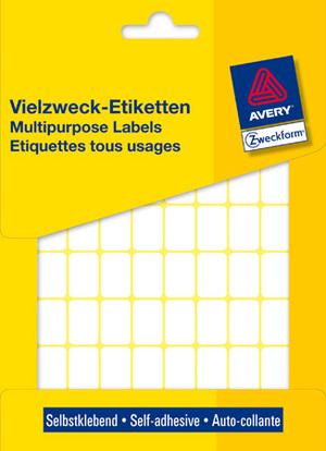 AVERY Zweckform 3312 Vielzweck Etiketten, 18 x 12 mm, 25 Bogen/1.800 Etiketten, weiss 3312