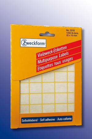 AVERY Zweckform 3318 Vielzweck Etiketten, 22 x 18 mm, 30 Bogen/1.200 Etiketten, weiss 3318