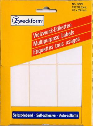 AVERY Zweckform 3329 Universal-Etiketten, 76 x 39 mm, 32 Bogen/192 Etiketten, weiss 3329