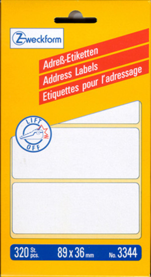 AVERY Zweckform 3344 Adress-Etiketten, 89 x 36 mm, 1 Bogen/320 Etiketten, weiss 3344