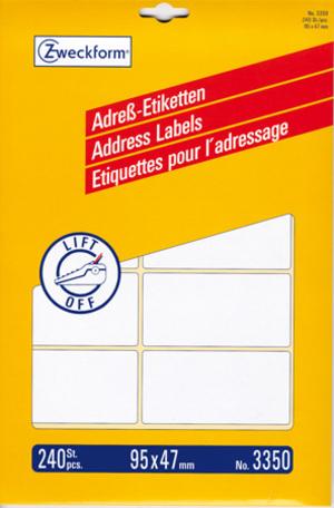 AVERY Zweckform 3350 Adress-Etiketten, 95 x 47 mm, 20 Bogen/240 Etiketten, weiss 3350