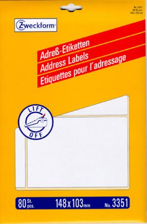 AVERY Zweckform 3351 Adress-Etiketten, 148 x 103 mm, 20 Bogen/80 Etiketten, weiss 3351
