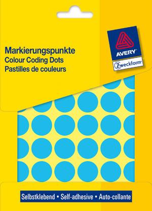 AVERY Zweckform 3375 Markierungspunkte, Ø 18 mm, 22 Bogen/1.056 Etiketten, blau 3375