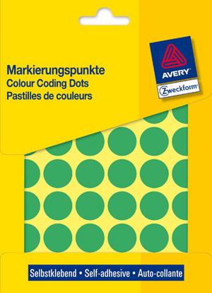 AVERY Zweckform 3376 Markierungspunkte, Ø 18 mm, 22 Bogen/1.056 Etiketten, grün 3376