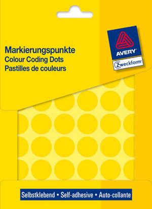 AVERY Zweckform 3377 Markierungspunkte, Ø 18 mm, 22 Bogen/1.056 Etiketten, gelb 3377