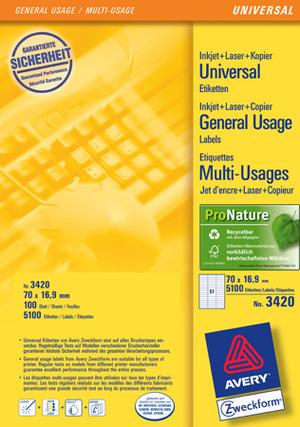 AVERY Zweckform 3420 Universal-Etiketten, 70 x 16,9 mm, 100 Bogen/5.100 Etiketten, weiss Zweckform;3420
