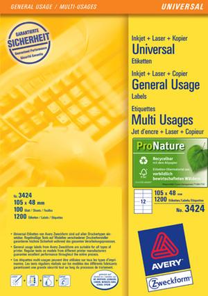 AVERY Zweckform 3424 Universal-Etiketten, 105 x 48 mm, Deutsche Post INTERNETMARKE, 100 Bogen/1.200 Etiketten, weiss 3424