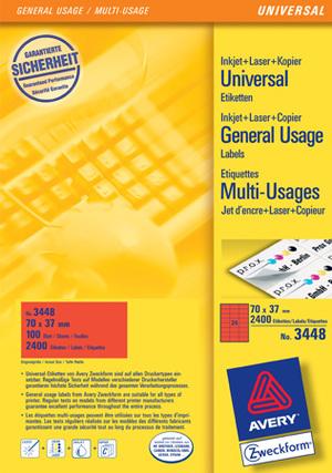 AVERY Zweckform 3448 Farbige Etiketten, 70 x 37 mm, 100 Bogen/2.400 Etiketten, rot Zweckform;3448