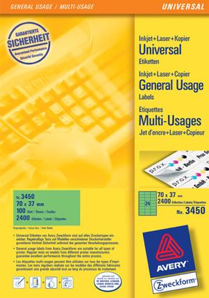 AVERY Zweckform 3450 Farbige Etiketten, 70 x 37 mm, 100 Bogen/2.400 Etiketten, grün Zweckform;3450