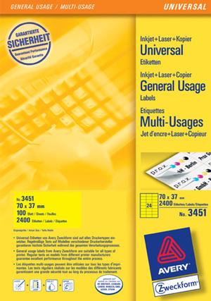 AVERY Zweckform 3451 Farbige Etiketten, 70 x 37 mm, 100 Bogen/2.400 Etiketten, gelb 3451