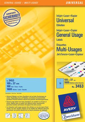 AVERY Zweckform 3453 Farbige Etiketten, 105 x 37 mm, 100 Bogen/1.600 Etiketten, blau Zweckform;3453