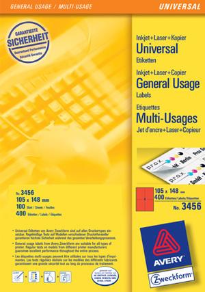 AVERY Zweckform 3456 Farbige Etiketten, 105 x 148 mm, 100 Bogen/400 Etiketten, rot 3456