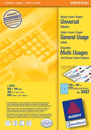 AVERY Zweckform 3457 Farbige Etiketten, 105 x 148 mm, 100 Bogen/400 Etiketten, blau 3457