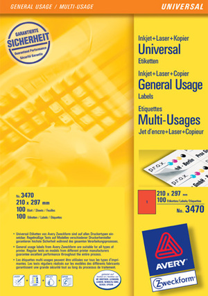 AVERY Zweckform 3470 Farbige Etiketten, 210 x 297 mm, 100 Bogen/100 Etiketten, rot Zweckform;3470