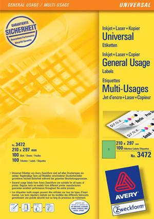 AVERY Zweckform 3472 Farbige Etiketten, 210 x 297 mm, 100 Bogen/100 Etiketten, grün Zweckform;3472