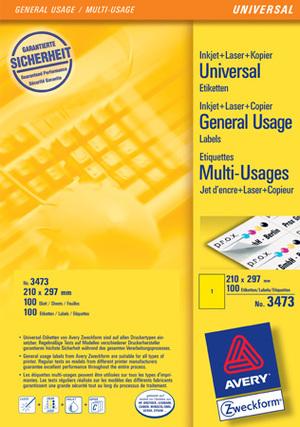AVERY Zweckform 3473 Farbige Etiketten, 210 x 297 mm, 100 Bogen/100 Etiketten, gelb Zweckform;3473