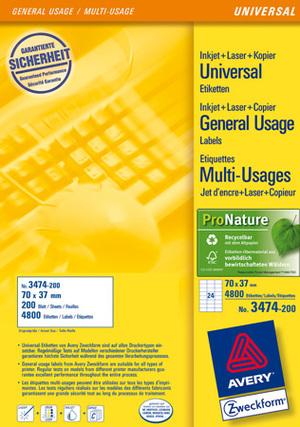 AVERY Zweckform 3474-200 Universal-Etiketten, 70 x 37 mm, 220 Bogen/5.280 Etiketten, weiss 3474-200
