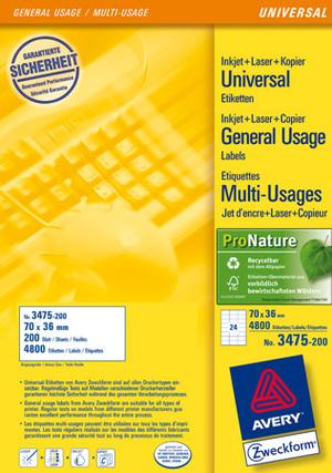 AVERY Zweckform 3475-200 Universal-Etiketten, 70 x 36 mm, Deutsche Post INTERNETMARKE, 220 Bogen/5.280 Etiketten, weiss 3475-200