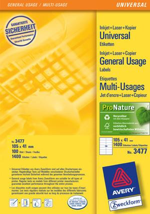 AVERY Zweckform 3477 Universal-Etiketten, 105 x 41 mm, 100 Bogen/1.400 Etiketten, weiss