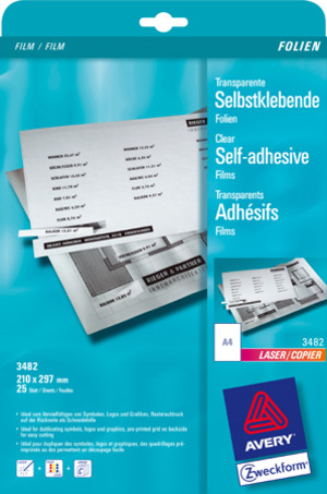 AVERY Zweckform 3482 Transparente, selbstklebende Folien, DIN A4, einseitig beschichtet, 25 Bogen Zweckform;3482