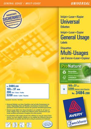 AVERY Zweckform 3484-200 Universal-Etiketten, 105 x 37 mm, 220 Bogen/3.520 Etiketten, weiss 3484-200