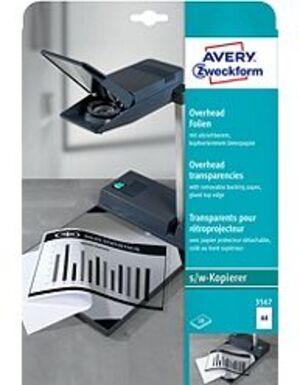 AVERY Zweckform 3567 Overhead-Folien, DIN A4, einseitig beschichtet, kopfverleimtem Unterpapier, 10 3567A1