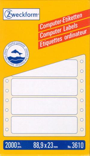 AVERY Zweckform 3610 Computer Etiketten, 88,9 x 23 mm, 1 Pack/2.000 Etiketten, weiss Zweckform;3610