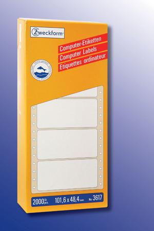 AVERY Zweckform 3617 Computer Etiketten, 101,6 x 48,4 mm, 1 Pack/2.000 Etiketten, weiss 3617