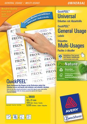AVERY Zweckform 3650 Universal-Etiketten, 48 x 21 mm, 100 Bogen/5.200 Etiketten, weiss Zweckform;3650