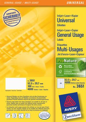 AVERY Zweckform Etiketten A4, 52.5x29.7mm Zweckform;3651