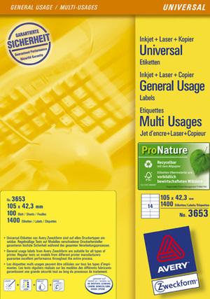 AVERY Zweckform 3653 Universal-Etiketten, 105 x 42,3 mm, 100 Bogen/1.400 Etiketten, weiss Zweckform;3653