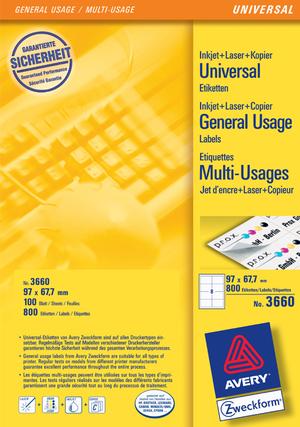 AVERY Zweckform 3660 Universal-Etiketten, 97 x 67,7 mm, Deutsche Post INTERNETMARKE, 100 Bogen/800 Etiketten, weiss Zweckform;3660