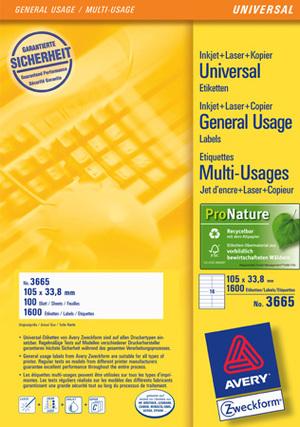 AVERY Zweckform 3665 Universal-Etiketten, 105 x 33,8 mm, 100 Bogen/1.600 Etiketten, weiss 3665