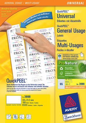 AVERY Zweckform 3666 Universal-Etiketten, 38 x 21,2 mm, 100 Bogen/6.500 Etiketten, weiss Zweckform;3666