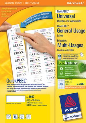 AVERY Zweckform 3667 Universal-Etiketten, 48,5 x 16,9 mm, 100 Bogen/6.400 Etiketten, weiss 3667