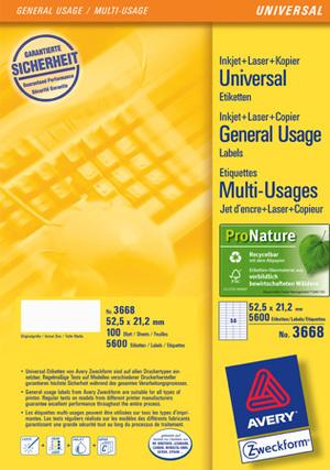 AVERY Zweckform 3668 Universal-Etiketten, 52,5 x 21,2 mm, 100 Bogen/5.600 Etiketten, weiss 3668