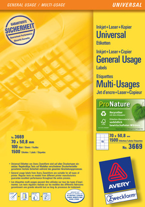 AVERY Zweckform Universal-Etikett. 70x50, 8mm 3669