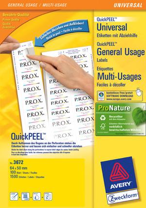 AVERY Zweckform 3672 Universal-Etiketten, 64 x 50 mm, 100 Bogen/1.500 Etiketten, weiss 3672