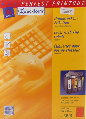 AVERY Zweckform Etikette 192x61 mm Ordner rot 3691Z