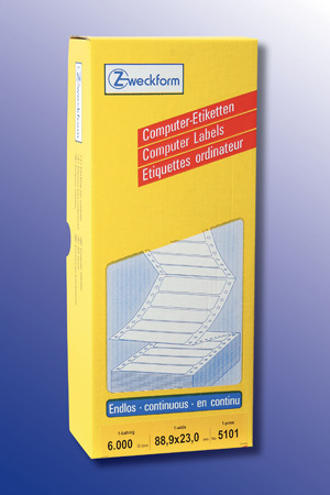 AVERY Zweckform 5101 Computer Etiketten, 88,9 x 23 mm, 1 Pack/6.000 Etiketten, weiss 5101