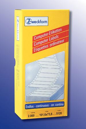 AVERY Zweckform 5120 Computer Etiketten, 101,6 x 73,8 mm, 1 Pack/2.000 Etiketten, weiss Zweckform;5120