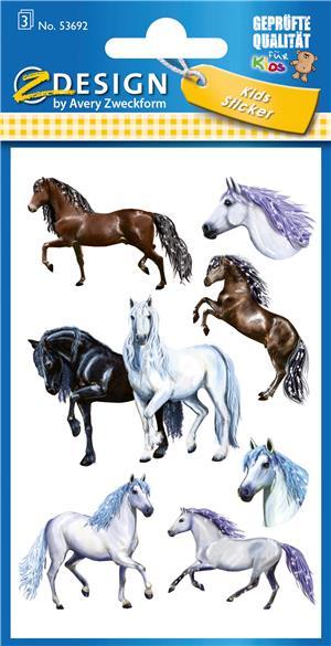 AVERY Zweckform KID Papier Sticker Pferde in Herzrahmen 53692