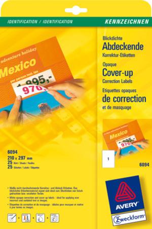 AVERY Zweckform 6094 Korrektur- und Abdeck-Etiketten, 210 x 297 mm, 25 Bogen/25 Etiketten, weiss 6094