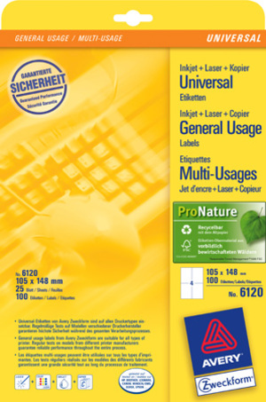 AVERY Zweckform 6120 Universal-Etiketten, 105 x 148 mm, Deutsche Post INTERNETMARKE, 30 Bogen/120 E 6120