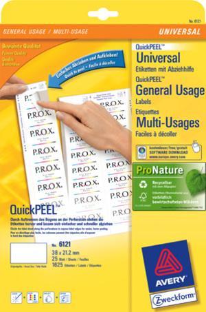 AVERY Zweckform 6121 Universal-Etiketten, 38 x 21,2 mm, 30 Bogen/1.950 Etiketten, weiss 6121