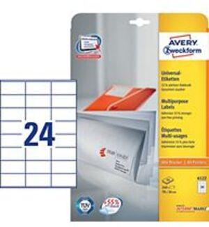 AVERY Zweckform 6122 Universal-Etiketten, 70 x 36 mm, Deutsche Post INTERNETMARKE, 10 Bogen/240 Eti 6122A2