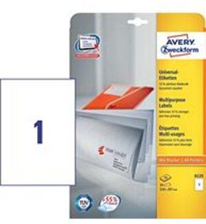 AVERY Zweckform 6125 Universal-Etiketten, 210 x 297 mm, 10 Bogen/10 Etiketten, weiss 6125