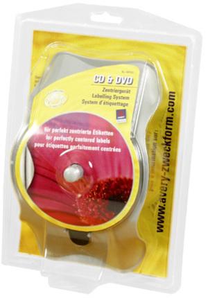AVERY Zweckform AB750 CD&DVD Zentriergerät, 230 x 140 x 90 mm, CD/DVD, Zentriergerät, 1 Stück, grau AB750